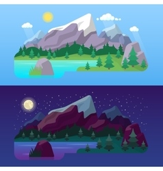 Nature Mountain Landscape Day and Night vector image vector image