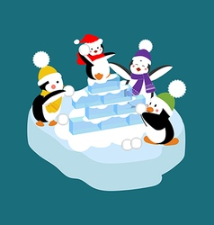 Penguins playing snowball vector image vector image
