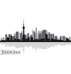 Shanghai city skyline silhouette background vector image vector image
