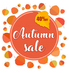 autumn sale banner with autumn leaves on white vector image vector image