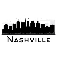 Nashville City skyline black and white silhouette vector image