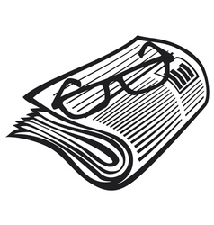 newspaper icon and reading glasses vector image vector image