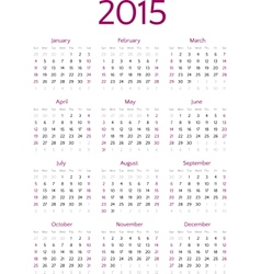 Simple 2015 year calendar grid vector image