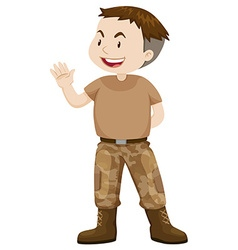 Soldier in brown uniform vector image vector image