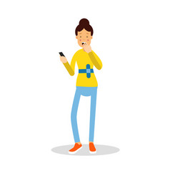 Beautiful young woman standing with mobile phone vector