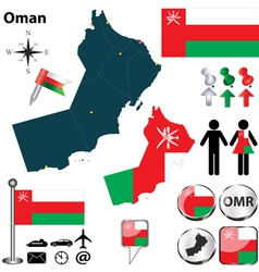 Map of Oman vector image vector image