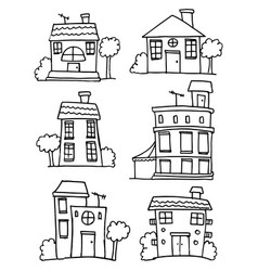 set of house style hand draw vector image vector image