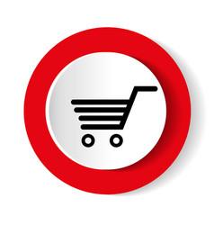 shopping cart red circle web glossy icon vector image