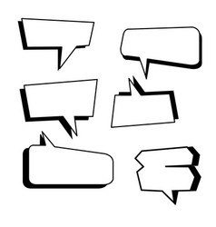 text boxes comic set with isolated vector image