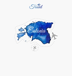 Travel around the world Estonia Watercolor map vector image