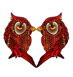 two kissing birds heart with valentine s day vector image