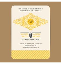 wedding invitation with yellow element vector image