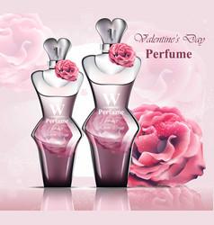 women perfume bottle delicate rose fragrance vector image vector image