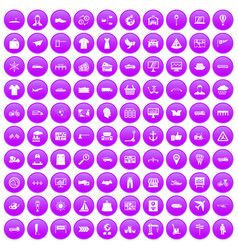 100 logistic and delivery icons set purple vector