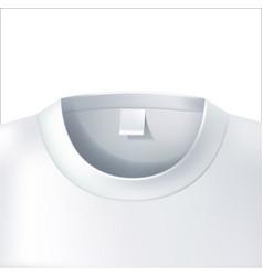 3d t shirt collar closeup white mockup vector