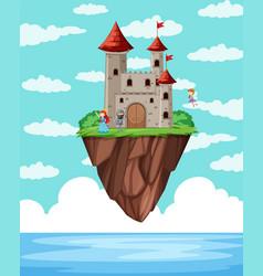 a castle island above ocean vector image