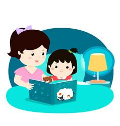 A of a mother reading a bedtime vector