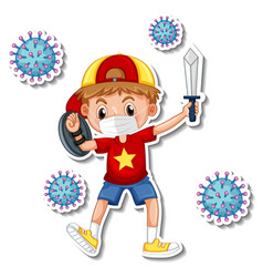 A sticker template with boy wearing medical vector
