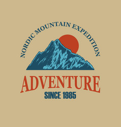 adventure wild life mountains with lettering vector image