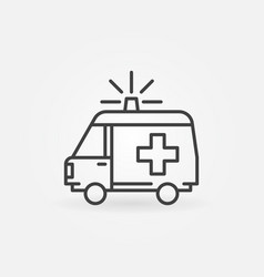 Ambulance linear concept minimal icon vector