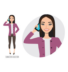 Asian girl is calling by phone vector