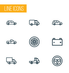 automobile icons line style set with van pickup vector image