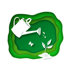background with watering can vector image