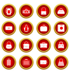 Bag baggage suitcase icon red circle set vector