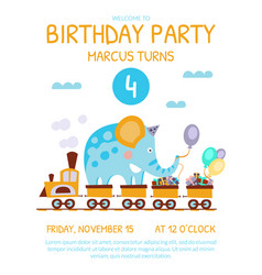 Birthday invitation card with cute funny elephant vector