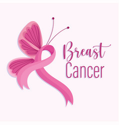 breast cancer awareness month pink ribbon side vector image