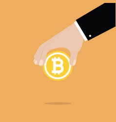 businessman hand holding bitcoin vector image