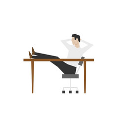 businessman sitting with his feet on table vector image