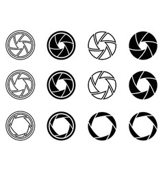 Camera shutter aperture icons vector