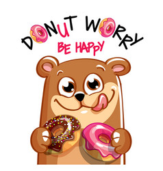 cartoon bear with donuts vector image