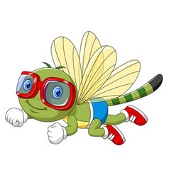 cartoon funny dragonfly using goggles vector image