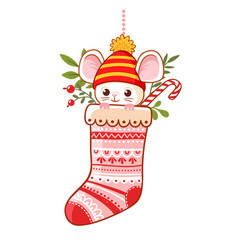 Christmas sock with a cute little mouse inside vector