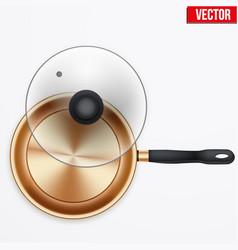 Classic brass fry pan vector