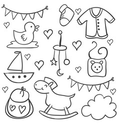 collection baobject doodles vector image
