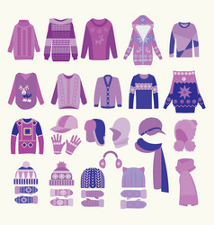 collection of knitted woolen winter clothes and vector image