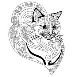 coloring antistress cat 10 vector image