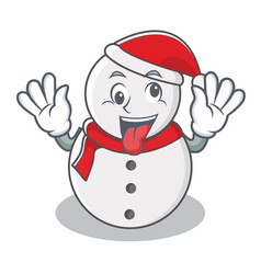 Crazy snowman character cartoon style vector