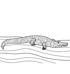 Crocodile coloring book for adults vector image