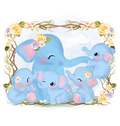 Cute mommy and baby elephants vector