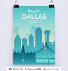 dallas famous city scape vector image
