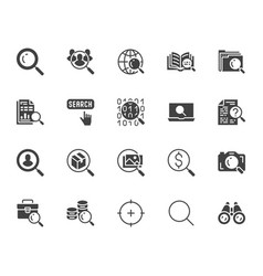 Data search flat glyph icons set magnify glass vector