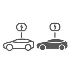 eco car line and glyph icon ecology and vehicle vector image