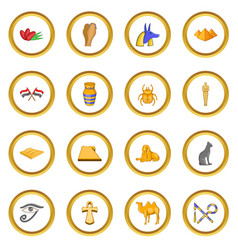 Egypt travel icons circle vector