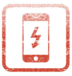 Electric smartphone framed textured icon vector