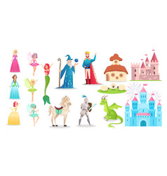 Fairy tale character set cartoon princess prince vector