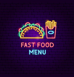 fast food menu neon label vector image